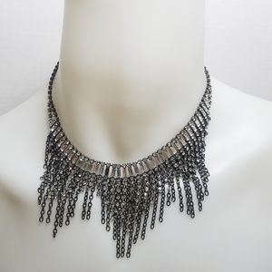 Jewelry - Rhinestone chain pewter statement necklace